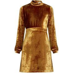 A.L.C. Gemma high-neck velvet dress (12.971.425 VND) ❤ liked on Polyvore featuring dresses, платья, gold, brown dress, velvet dress, going out dresses, slimming cocktail dresses and empire waist cocktail dresses