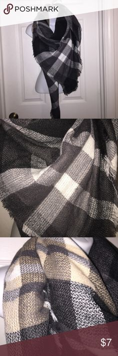 Very large square blanket scarf black tan and white designed blanket scarf Accessories Scarves & Wraps
