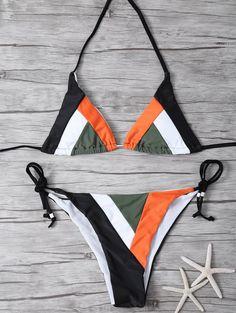 $15.49 Color Block Geometric Bikini Set - BLACK L