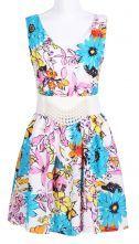 Blue V-neck Sleeveless Flowers Print Belt Chiffon Dress 0.00