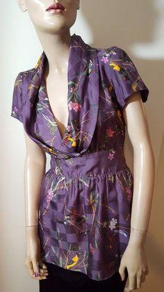 Cris Barros 100% Silk Purple Tropical Bird Print Kimono Wrap Top Size P/S 8 10 #CrisBarros #OtherTops #Party