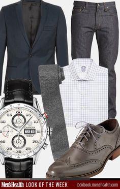 What do YOU wear to work? Blazer: TopmanTie: Club MonacoDress shirt: Brooks BrothersJeans: J.BrandWatch: Tag HeuerShoes: Cole Haan