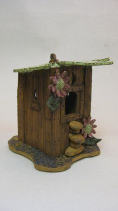 Pottery birdhouse Out House Shape Number 650 by MorningsWork, $65.00