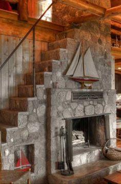 37 Stone Fireplace Ideas | Sebring Design Build Tall Fireplace, Fireplace Ideas, Fireplace Design, Eldorado Stone, Gambrel Barn, Old Bricks, Wood Ceilings, Old Stone