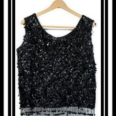 """BLAIRMOOR ORIGINAL SEQUIN TANK TOP BLAIRMOOR ORIGINAL ♦SEQUIN TANK TOP ♦ 50s 60s ♦BEADED & SEQUIN TANK TOP BLACK♦ WOMEN EVENING BLOUSE.  〰VINTAGE ITEM FROM THE 1960's〰 THIS WOMEN BEADED & SEQUIN TANK COMES IN BLACK WITH FRINGE BEADS, EVERY SO OFTEN IS A WHITE BEAD ON THE BLOUSE. AWESOME. 100% LAMBS WOOL CASHMERE FINISHED. ➡MEASUREMENTS : SHOULDER TO SHOULDER 16""""; BUST 20""""; WAIST 20""""; LRG-XL (38)  EXCELLENT CONDITION BLAIRMOOR  Tops Tank Tops"""
