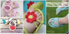 These Crochet Baby Sandals ( Flip Flops, Flower Sandals and striped sandals) are perfect baby gifts for Summer and all patterns are free.