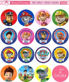 "Paw Patrol - 2"" Circle Images - Digital Collage Sheet 8.5x11"" - Cupcake Toppers, Printable Party Favors, Party Tags - INSTANT DOWNLOAD"