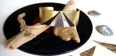 Manchette géométrique en cuir et laiton