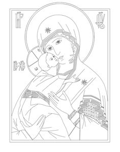 Byzantine Icon coloring pages.  Coloring page of Our Lady of Vladimir.  #Byzantine coloring pages    #Catholic Coloring pages    #Orthodox Coloring pages.