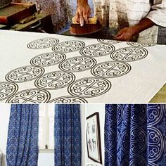 Hand stamping using a carved wooden block. This technique is known as Block Printing.  It is then dyed by hand in Indigo & washed & dried under the hot scorching sun!
