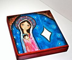 Nativity Star III  Giclee print mounted on Wood 4 x by FlorLarios, $18.00