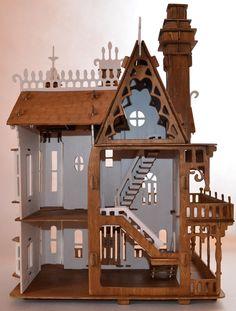 Domek dla lalek - Willa Fantazja w kolorze bieli i dębu