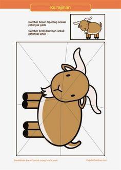 kerajinan gunting tempel PAUD (balita/TK) : buat sendiri puzzle kambing