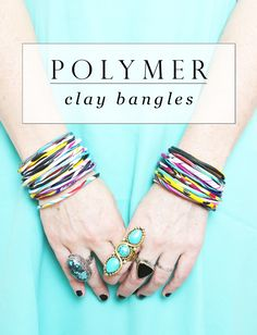 DIY polymer clay bangles tutorial. Nice because imperfections like fingerprints and wobbly construction doesn't matter.