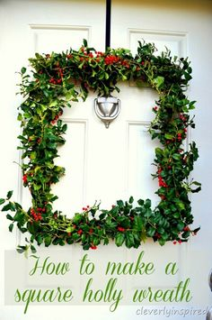 How to make a square holly wreath (DIY) Holiday Wreaths, Holiday Crafts, Holiday Ideas, Christmas Ideas, Winter Wreaths, Spring Wreaths, Picture Frame Wreath, Old Picture Frames, Halloween Decorations