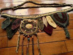 Earthy hand crochet hip wrap / utility belt by HorizonsEd3e, $84.00 #crochetart #crochet #nature