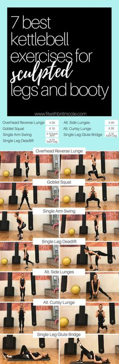 7 best kettlebell exercises for sculpted legs and booty! This is a workout you can do anywhere - you just need a kettlebell for this awesome kettlebell workout! #kettlebells #kettlebellworkouts