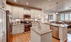 Traditional Kitchen with flush light, Hardwood floors, U-shaped, Pendant Light, Flat panel cabinets, Complex Granite
