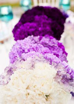 purple ombre centerpieces