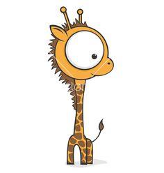 Big Eyed Giraffe Vector On Vectorstock Giraffe Drawing Giraffe Giraffe Art