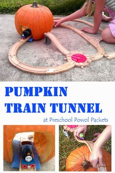 This fun Pumpkin Train Tunnel puts a twist on trains that preschoolers and older children will love! Autumn Activities For Kids, Fall Preschool, Preschool Activities, Train Crafts Preschool, Toddler Halloween Activities, October Preschool Themes, Preschool Family Theme, Harvest Activities, Stem Curriculum