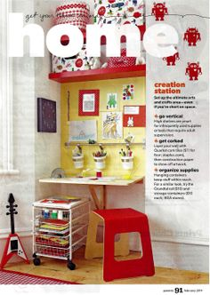 From Parent Magazine, February 2014 issue. I love this idea for D's book nook when he gets older. Ikea Norberg fold down desk and Lack shelves.
