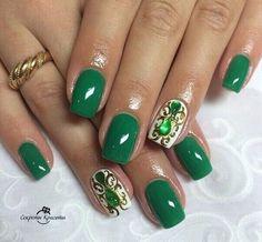 Autumn nails, Emerald nails, Gold casting nails design, Nails with liquid stones, October nails