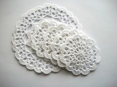 Crochet Coaster Set White Cotton Lace