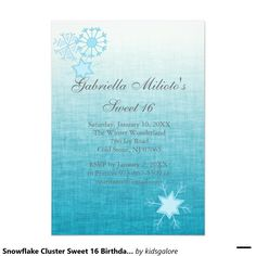 Snowflake Cluster Sweet 16 Birthday Invitation
