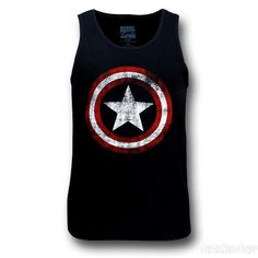 Images of Captain America Distressed Navy Blue Tank Top