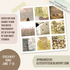 The Elite Sixteen: Our June Etsy Giveaway with Kim of Semi Sweet Studios! Rustic Photography, Giveaways, Studios, June, Fine Art, Sweet, Blog, Handmade, Etsy