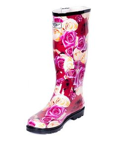 Love this Pink & Red Floral Rain Boot - Adult on #zulily! #zulilyfinds