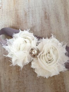 Baby Girl Soft Shimmery Elastic Cream Headbands by BowtiquePartyDesign, $8.00
