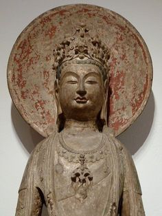 Standing Bodhisattva Avalokiteshvara (Guanyin Pusa) with Circular Halo, 581 - 618 Sculpture Chinese, centuries Sui dynasty, Limestone with traces of gilding and polychrome pigment. Buddha Buddhism, Buddhist Art, Religion, Harvard Art Museum, Namaste, Serenity, Guanyin, Chinese Antiques, Sculpture