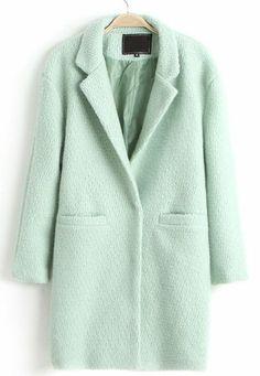 Mint Green Lapel Double Pocket Longline Wool Coat pictures