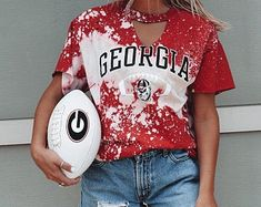 Check out our georgia shirts selection for the very best in unique or custom, handmade pieces from our clothing shops. Georgia Shirt, Georgia Bulldogs Football, Cute Everyday Outfits, Cute Outfits, Georgia Girls, Game Day Shirts, Florida Gators, Football Outfits, Amigurumi