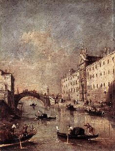 Rio del Mendicanti, 1780s, oil on canvas by Francesco Guardi, Italian, 1712-1792.  Guardi came  from a family of artists and was known for his views of Venice. This painting was used as the cover art for a Vivaldi recording of Excess of Pleasure. The painting is in the Accademia Carrara in Bergamo, Italy.