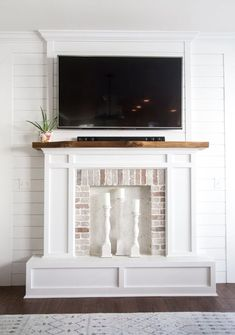 Diy faux fireplace and shiplap wall ghd home projects Fireplace Remodel, Home, Home Fireplace, Faux Fireplace Mantels, Diy Shiplap, Living Room With Fireplace, Ship Lap Walls, Farmhouse Fireplace, Fireplace
