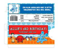 BLUES CLUES Candy Bar Sleeve  Wrapper Label  Birthday by partybean,