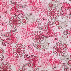 Pink & Brown Paisley Cotton Calico Fabric
