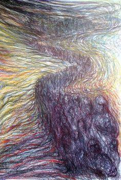 Exodus drawing, biro and Neocolor on paper, size Wakefield Artist Tim Burton. Biro, Tim Burton, Trippy, Drawings, Artist, Wakefield, Paper Size, Type 3, Study