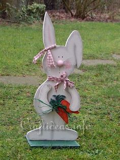 Free Spring and Easter Wood Craft - Large Wooden Bunny with Carrots