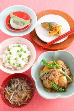 Bean rice  Nikujaga -meat & potatoes stew-  Sawani soup with julienne vegetables  Baked Bamboo shoot & spanish mackerel with leaf bud  Kashiwamochi