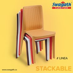 Linea #chairs are #stackable #furniture moulded in virgin polymers which makes it long-lasting. Rattan design backrest makes it more attractive and unique. Get more details at www.swagath.co !!