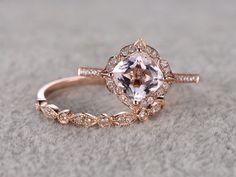 2pcs Morganite Bridal Ring Set,Engagement ring Rose gold,Diamond wedding band,14k,7mm Cushion Cut,Promise Ring,Retro Vintage Floral,Art Deco
