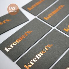 Copper Bronze Foil Hot Stamping on Extra Grey Stock #FPbusinesscards #fastprinting