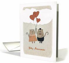 Happy Wedding Anniversary in Spanish, Feliz Aniversario, Cats card