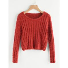 Rib Knit Crop Fuzzy Jumper (16 BRL) ❤ liked on Polyvore featuring tops, sweaters, ribbed knit crop top, fuzzy crop top, crop tops, red cropped sweater and rib knit top