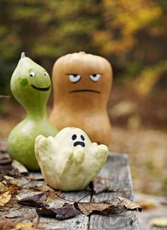 When I go to the pumpkin patch with my family, I don't just look for the perfect, most orange pumpkin. I look for pumpkins and gourds that already have personality. I encourage my girls to look at some of the oddly shaped gourds and ask them what kind of character they see. Is there a sad, scary, or happy face there? Don't choose the pumpkins, let the pumpkins choose you!
