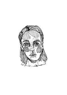 Bold Portrait Girl Fashion Illustration // by StaggIllustration pen drawing